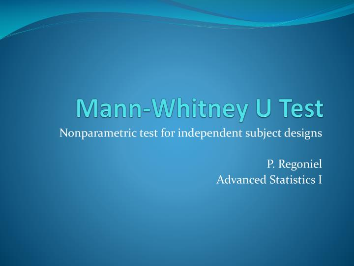 Mann Whitney Test Download