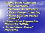 Radial Basis Functions Neuron Model Network Architecture Exact Design (newrbe)