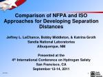 Comparison of NFPA and ISO Approaches for Developing Separation Distances