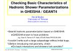Checking Basic Characteristics of Hadronic Shower Parameterizations in GHEISHA / GEANT4