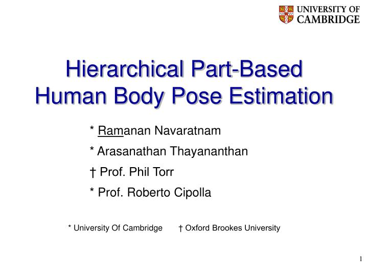 hierarchical part based human body pose estimation n.