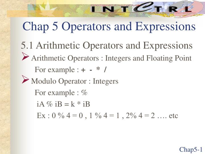 chap 5 operators and expressions n.