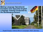 Dugald Sturges, Federal Office of Languages, Hürth, Germany
