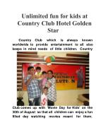 Unlimited fun for kids at Country Club Hotel Golden Star