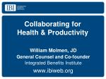 Collaborating for  Health & Productivity