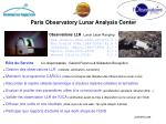 Paris Observatory Lunar Analysis Center