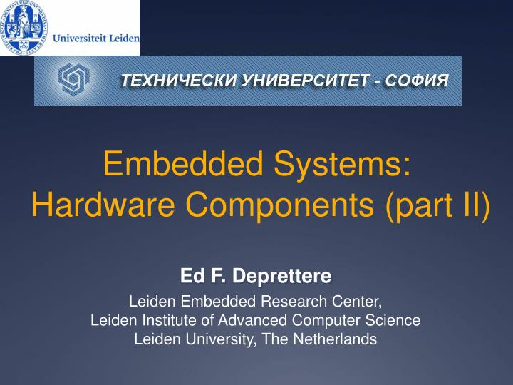embedded systems hardware components part ii n.