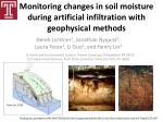 Monitoring changes in soil moisture during artificial infiltration with geophysical methods