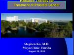 Radiation Therapy for Treatment of Prostate Cancer