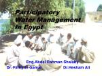 Participatory  Water Management  In Egypt