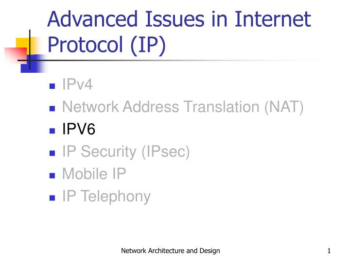 advanced issues in internet protocol ip n.
