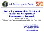 Recruiting an Associate Director of Science for Biological and Environmental Research