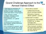 Grand-Challenge Approach to the Aerosol Indirect Effect