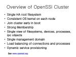Overview of OpenSSI Cluster