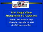 IS-6 Supply Chain Management & e-Commerce