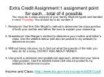 Extra Credit Assignment:1 assignment point for each…total of 4 possible