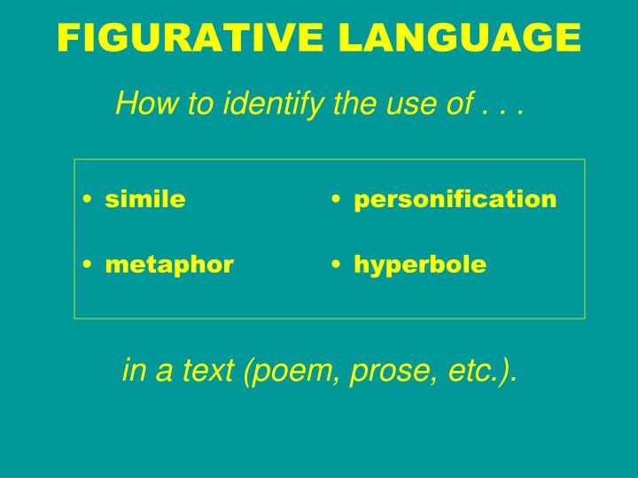 figurative language how to identify the use of in a text poem prose etc n.