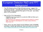 European Detector R&D and FP7 - background
