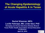 The Changing Epidemiology of Acute Hepatitis A in Texas