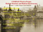 COMPASS Week in Prague Hadron Structure and Hadron Spectroscopy