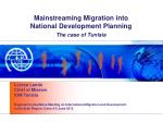 Mainstreaming Migration into National Development Planning The case of Tunisia