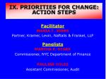 IX. PRIORITIES FOR CHANGE: ACTION STEPS