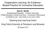 Cooperative Learning: An Evidence-Based Practice for Innovative Education