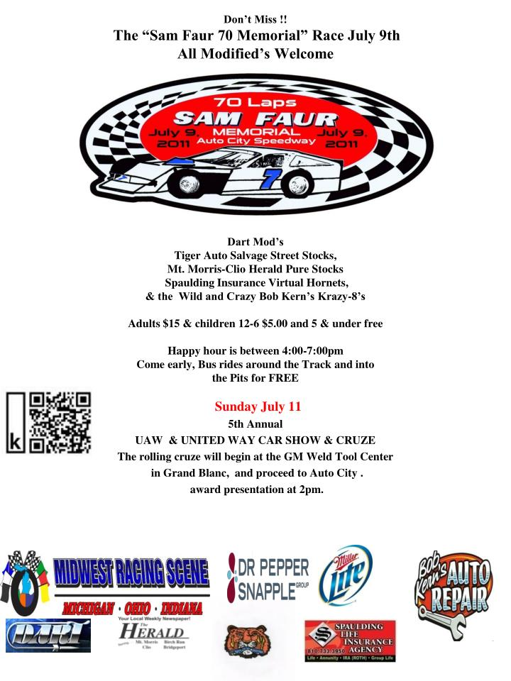 Speedway Auto Salvage >> Ppt Don T Miss The Sam Faur 70 Memorial Race July 9th