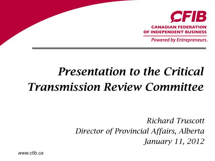 presentation to the critical transmission review committee n.