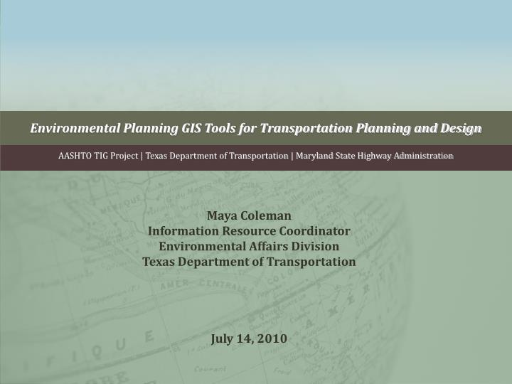 environmental planning gis tools for transportation planning and design n.