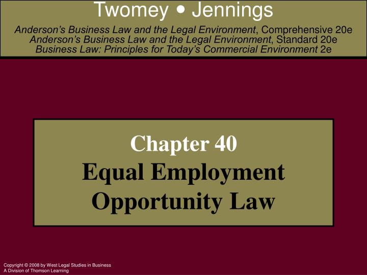 PPT Chapter 40 Equal Employment Opportunity Law PowerPoint