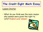 The Credit Eight Mark Essay