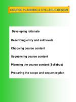 COURSE PLANNING & SYLLABUS DESIGN