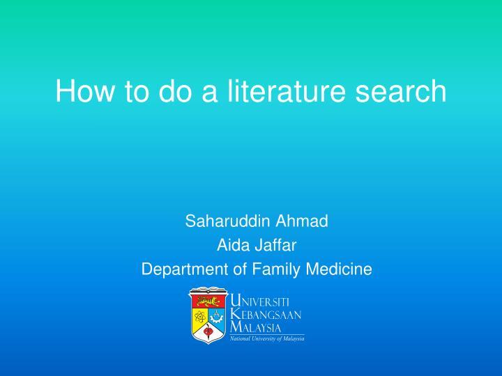 how to do a literature search n.