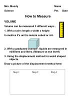 Mrs. Moody				Name Science					Per.     Date How to Measure VOLUME