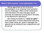 Week-2 EHK's position in the organization Chart