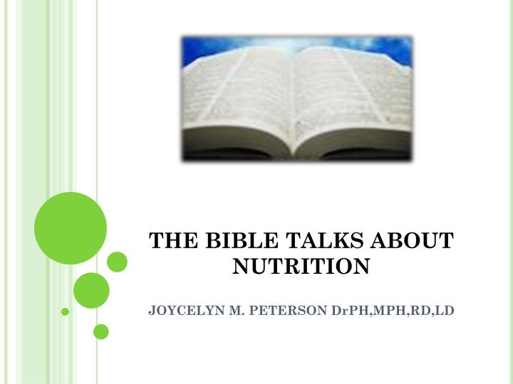 the bible talks about nutrition n.