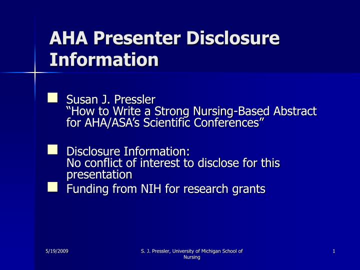 aha presenter disclosure information n.