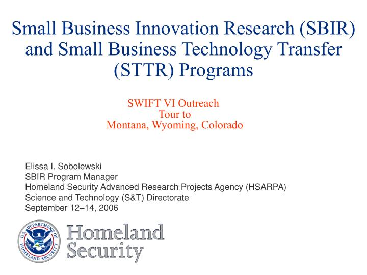 small business innovation research sbir and small business technology transfer sttr programs n.