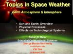Topics in Space Weather Earth Atmosphere & Ionosphere