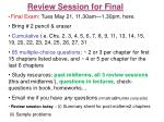Review Session for Final