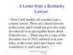 A Letter from a Kentucky Lawyer
