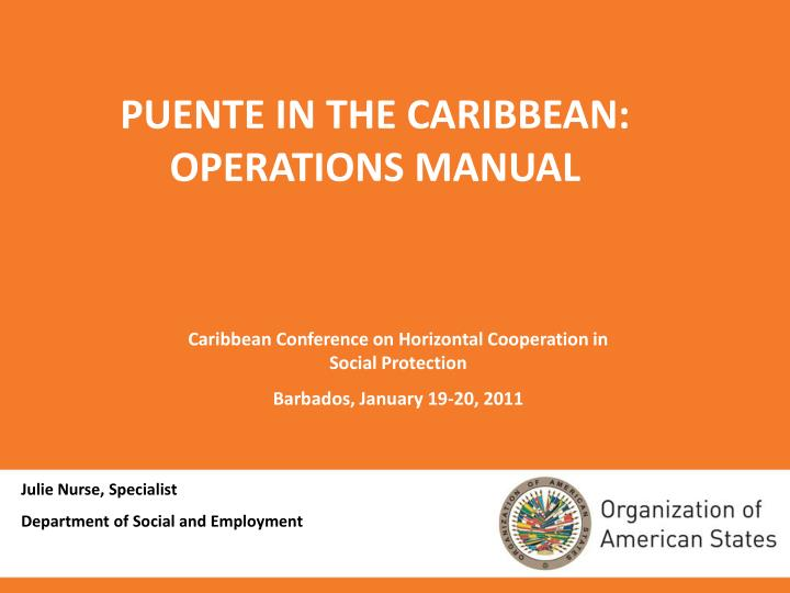 puente in the caribbean operations manual n.