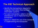 The IHE Technical Approach