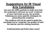 Suggestions for IB Visual Arts Candidates