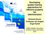 Developing quality training approaches for effective property tax administration