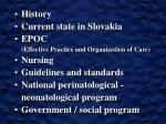History Current state in Slovakia EPOC  (Effective Practice and Organization of Care) Nursing