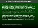 Mapping Forest Canopy Height with MISR