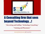 A Consulting firm t hat s ees b eyond Technology …!