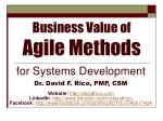 Business Value of Agile Methods